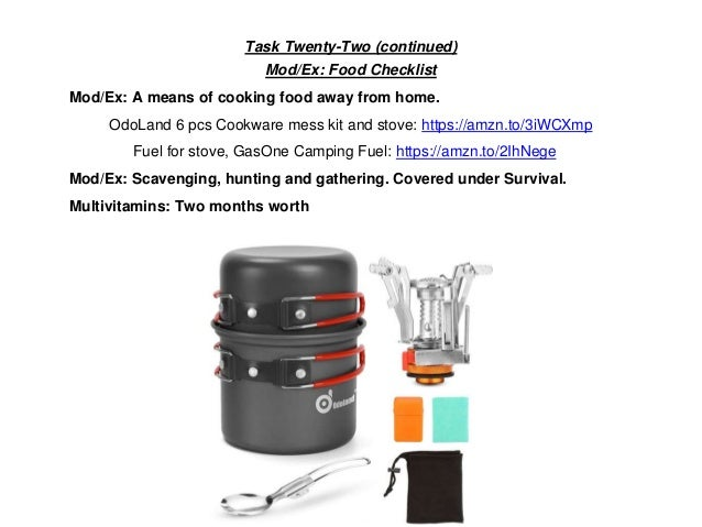 Task Twenty-Two (continued) Mod/Ex: Food Checklist Mod/Ex: A means of cooking food away from home. OdoLand 6 pcs Cookware ...