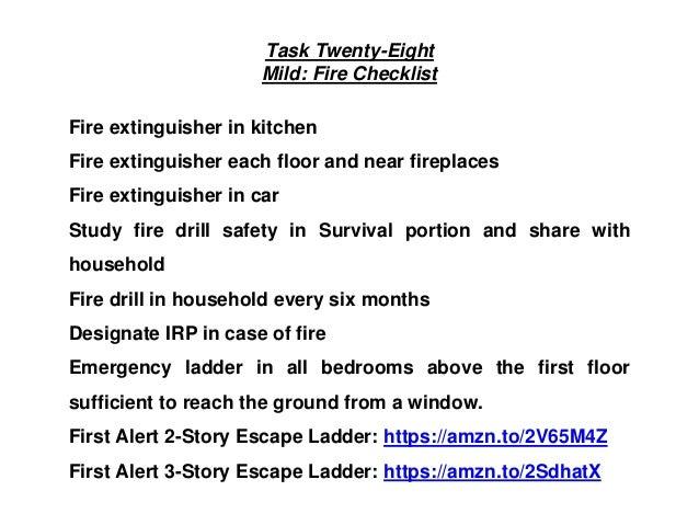 Task Twenty-Eight Mild: Fire Checklist Fire extinguisher in kitchen Fire extinguisher each floor and near fireplaces Fire ...