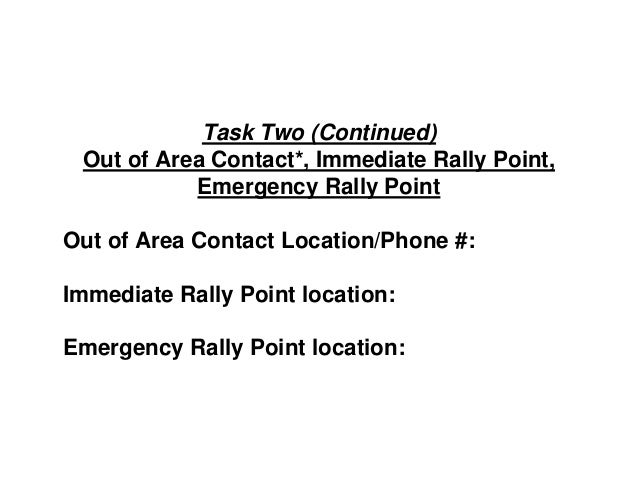 Task Two (Continued) Out of Area Contact*, Immediate Rally Point, Emergency Rally Point Out of Area Contact Location/Phone...