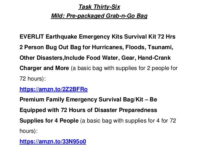 Task Thirty-Six Mild: Pre-packaged Grab-n-Go Bag EVERLIT Earthquake Emergency Kits Survival Kit 72 Hrs 2 Person Bug Out Ba...