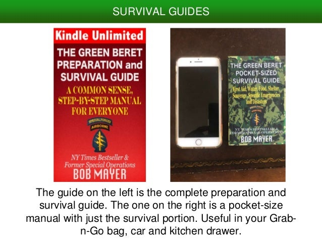 The guide on the left is the complete preparation and survival guide. The one on the right is a pocket-size manual with ju...