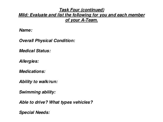 Task Four (continued) Mild: Evaluate and list the following for you and each member of your A-Team. Name: Overall Physical...