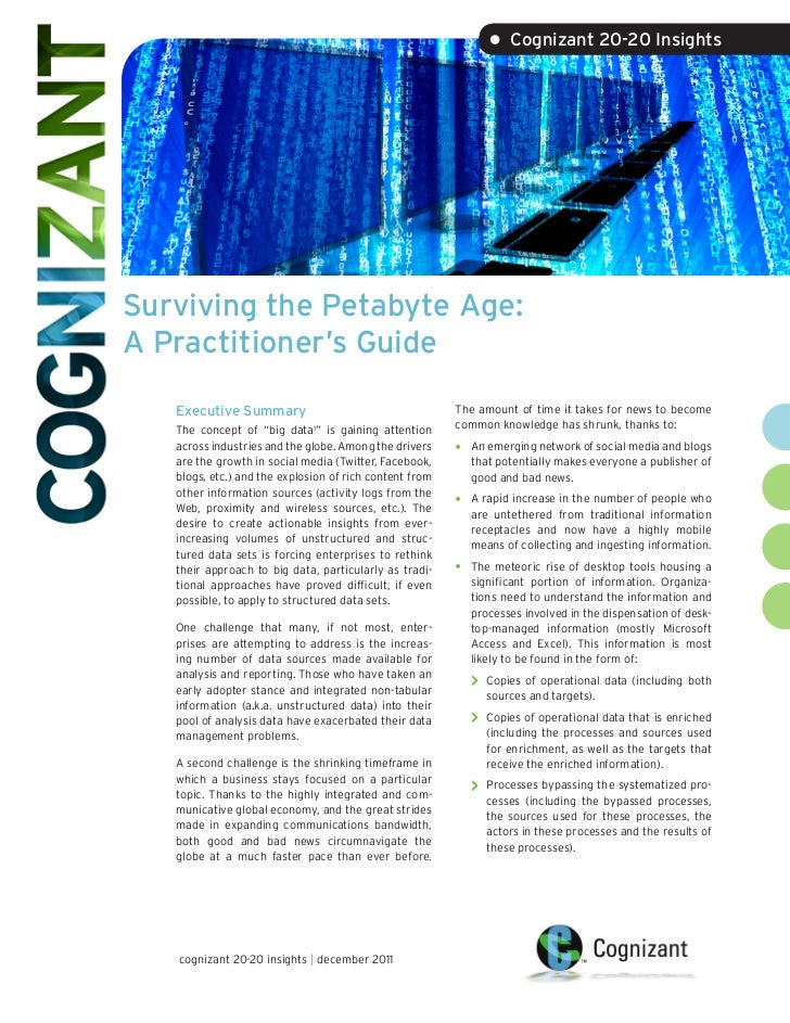 • Cognizant 20-20 InsightsSurviving the Petabyte Age:A Practitioner's Guide   Executive Summary                           ...