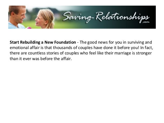 Rebuilding marriage after affair