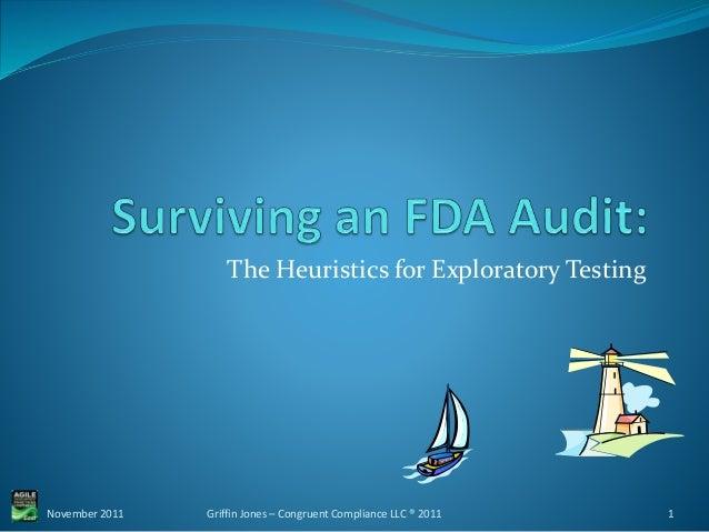 The Heuristics for Exploratory Testing November 2011 1Griffin Jones – Congruent Compliance LLC ® 2011
