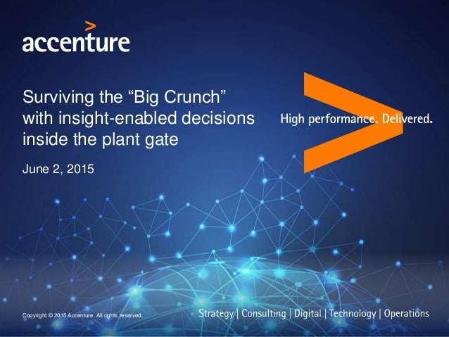 """Surviving the """"Big Crunch"""" with insight-enabled decisions inside the plant gate June 2, 2015 Copyright © 2015 Accenture Al..."""