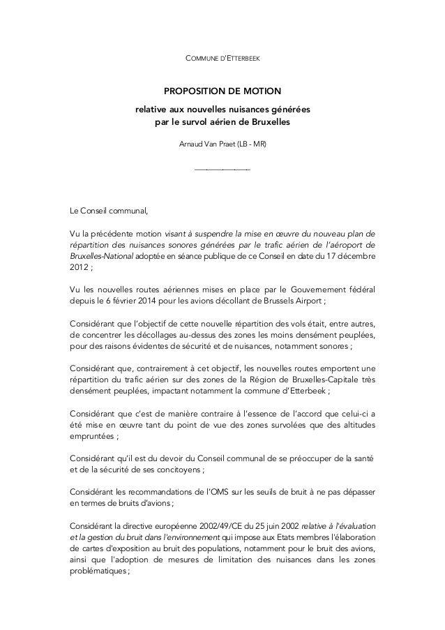 COMMUNE D'ETTERBEEK PROPOSITION DE MOTION relative aux nouvelles nuisances générées par le survol aérien ...