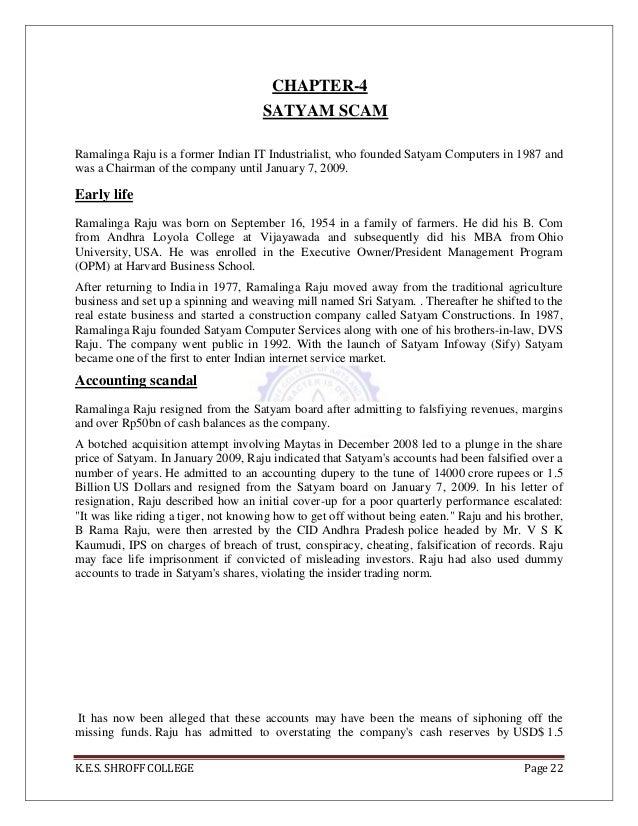 Surya scams – Ramalinga Raju Resignation Letter