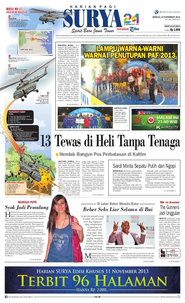 1  MINGGU, 10 NOVEMBER 2013  Pukul 09.00: Heli MI-17 milik TNI AD terbang dari Bandara Juata Tarakan membawa 19 penumpang ...