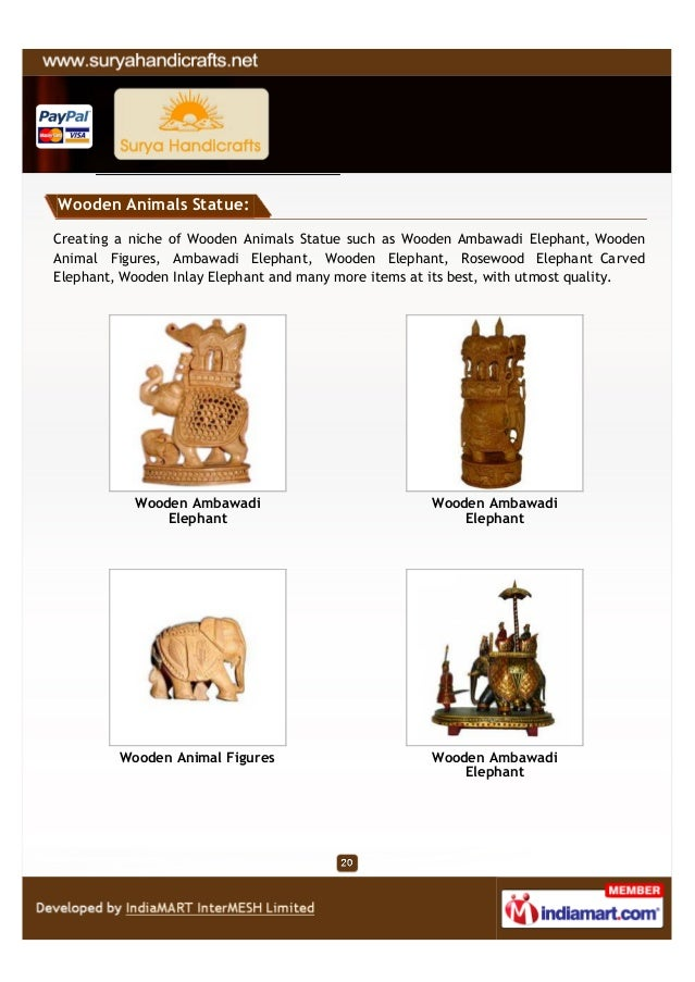 Wooden Animals Statue:Creating a niche of Wooden Animals Statue such as Wooden Ambawadi Elephant, WoodenAnimal Figures, Am...