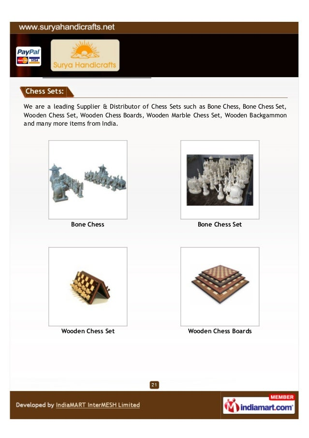 Chess Sets:We are a leading Supplier & Distributor of Chess Sets such as Bone Chess, Bone Chess Set,Wooden Chess Set, Wood...