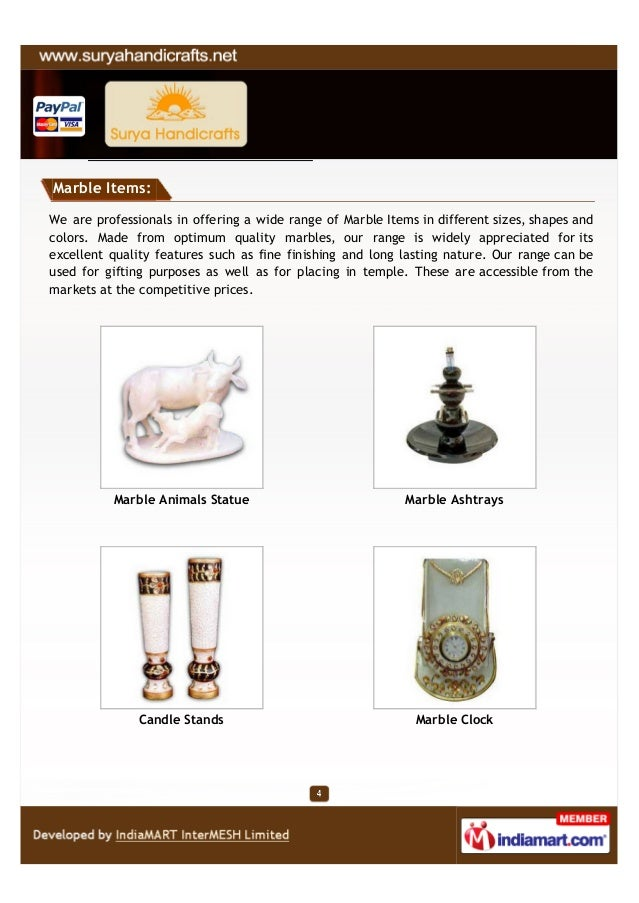Marble Items:We are professionals in offering a wide range of Marble Items in different sizes, shapes andcolors. Made from...