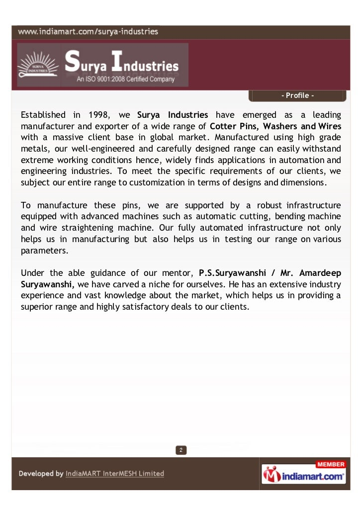 - Profile -Established in 1998, we Surya Industries have emerged as a leadingmanufacturer and exporter of a wide range of ...