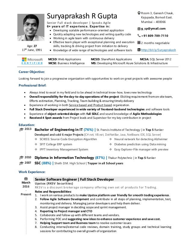 Senior software engineer, Senior Full stack web developer Resume