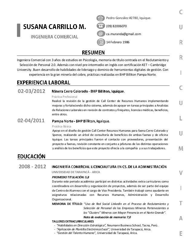 Pedro González #2780, Iquique. (09) 82006070 ca.muranda@gmail.com 14 Febrero 1986 02-03/2012 Realicé la revisión de la ges...