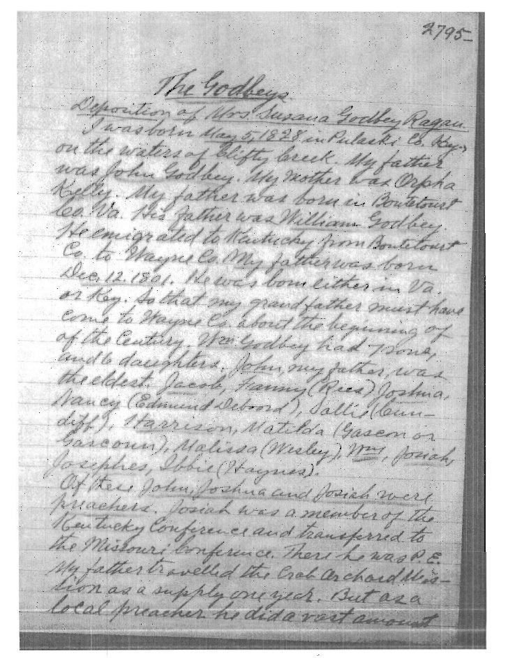 Godbey, Susana (m. Ragan) - Deposition given to John Jay Dickey