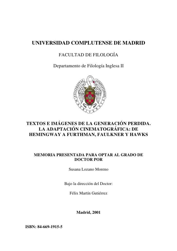 UNIVERSIDAD COMPLUTENSE DE MADRID                 FACULTAD DE FILOLOGÍA              Departamento de Filología Inglesa IIT...