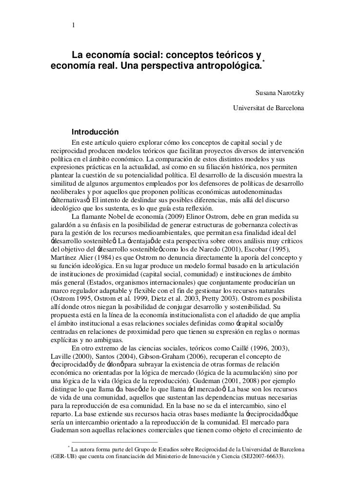1        La economía social: conceptos teóricos y economía real. Una perspectiva antropológica.*                          ...