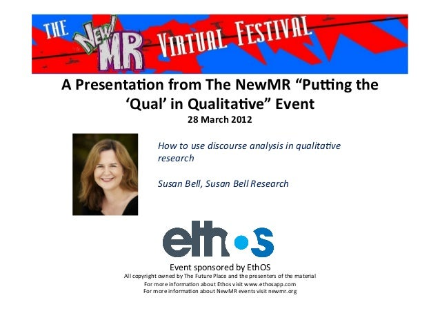 "A	   Presenta*on	   from	   The	   NewMR	   ""Pu6ng	   the	    'Qual'	   in	   Qualita*ve""	   Event	    28	   March	   2012..."