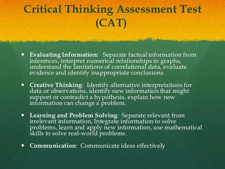 Critical thinking assessment practice test