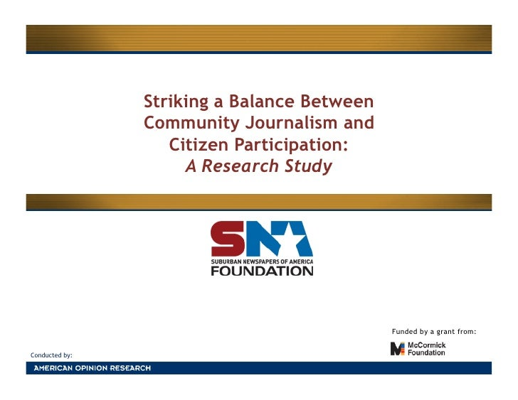 Striking a Balance Between                 Community Journalism and                    Citizen Participation:             ...