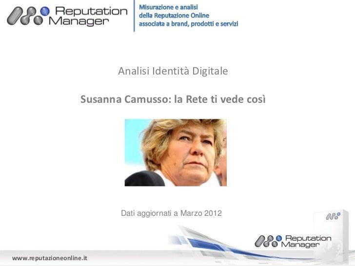 Analisi Identità Digitale                     Susanna Camusso: la Rete ti vede così                             Dati aggio...