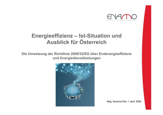 Energieeffizienz – Ist-Situation und Ausblick für Österreich Die Umsetzung der Richtlinie 2006/32/EG über Endenergieeffizi...