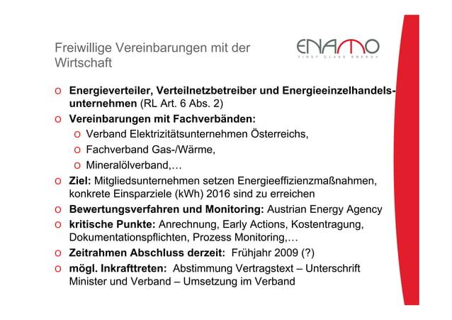 Freiwillige Vereinbarungen mit der Wirtschaft O Energieverteiler, Verteilnetzbetreiber und Energieeinzelhandels- unterneh...