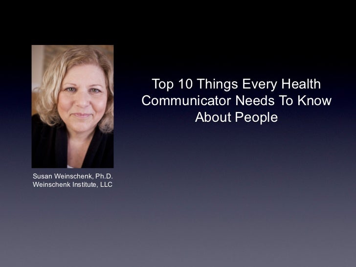 Top 10 Things Every Health                            Communicator Needs To Know                                    About ...