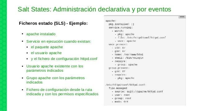 Salt States: Administración declarativa y por eventos Ficheros estado (SLS) - Ejemplo: ● apache instalado ● Servicio en ej...