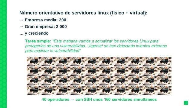 Número orientativo de servidores linux (físico + virtual): → Empresa media: 200 → Gran empresa: 2.000 … y creciendo 40ope...