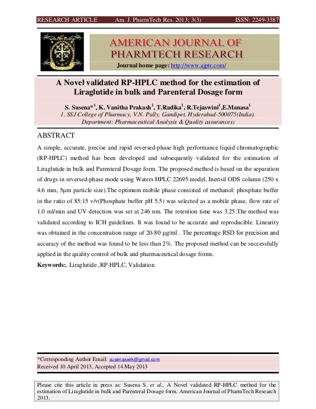 RESEARCH ARTICLE Am. J. PharmTech Res. 2013; 3(3) ISSN: 2249-3387Please cite this article in press as: Susena S. et al., A...