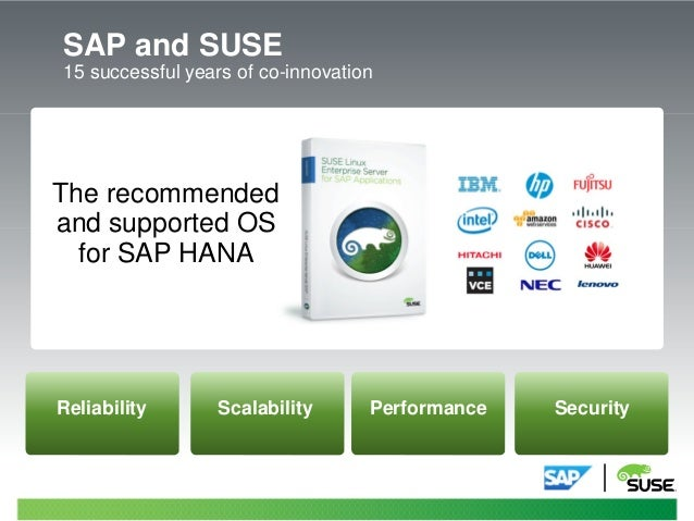SAP and SUSE 15 successful years of co-innovation – The recommended and supported OS for SAP HANA asdf Reliability Scalabi...