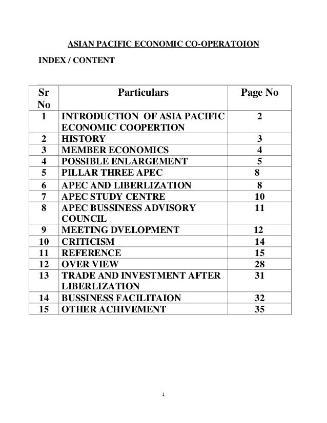 ASIAN PACIFIC ECONOMIC CO-OPERATOIONINDEX / CONTENTSr                Particulars         Page NoNo1    INTRODUCTION OF ASI...