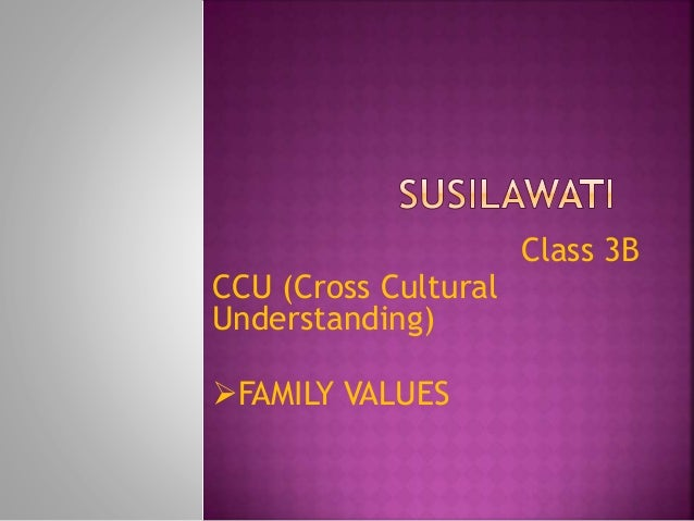 Class 3B CCU (Cross Cultural Understanding) FAMILY VALUES