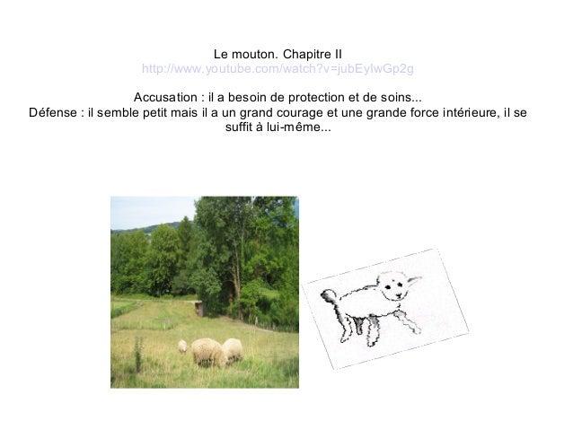 Le mouton. Chapitre IIhttp://www.youtube.com/watch?v=jubEyIwGp2gAccusation : il a besoin de protection et de soins...Défen...