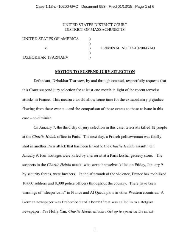 UNITED STATES DISTRICT COURT DISTRICT OF MASSACHUSETTS UNITED STATES OF AMERICA ) ) v. ) CRIMINAL NO. 13-10200-GAO ) DZHOK...