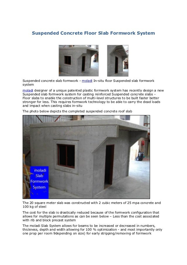 Suspended concrete floor slab formwork system for Suspended concrete floor