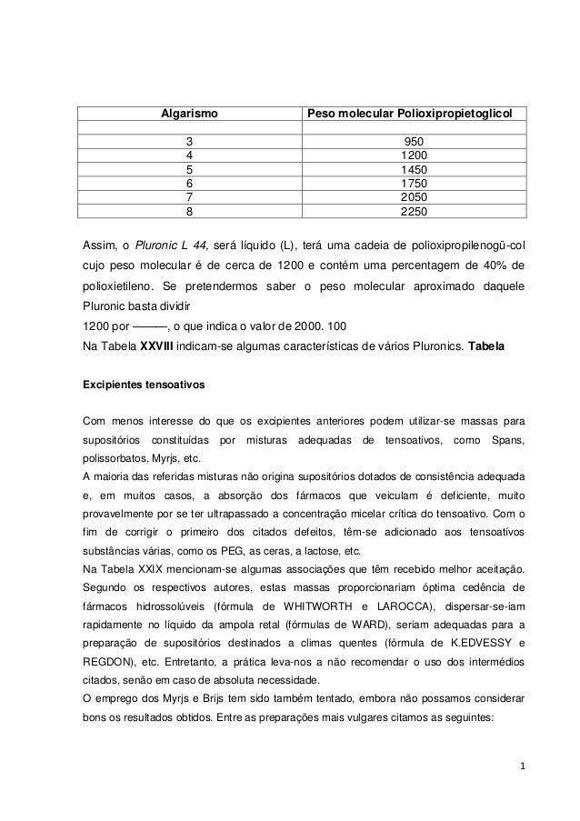 1 Algarismo Peso molecular Polioxipropietoglicol 3 950 4 1200 5 1450 6 1750 7 2050 8 2250 Assim, o Pluronic L 44, será líq...