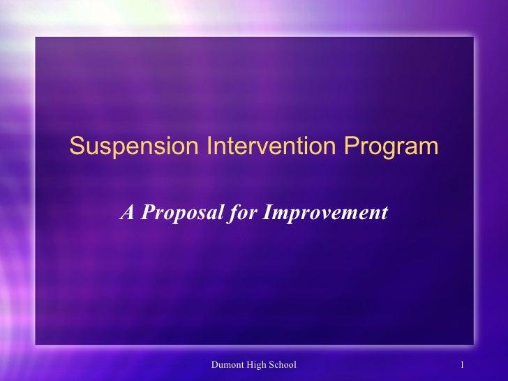 Suspension Intervention Program A Proposal for Improvement