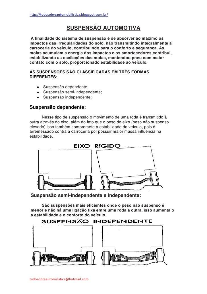 http://tudosobreautomobilistica.blogspot.com.br/                      SUSPENSÃO AUTOMOTIVA A finalidade do sistema de susp...
