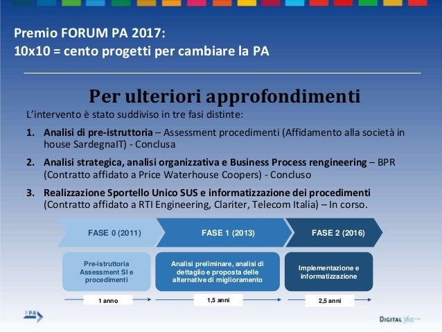 Premio FORUM PA 2017: 10x10 = cento progetti per cambiare la PA Per ulteriori approfondimenti L'intervento è stato suddivi...