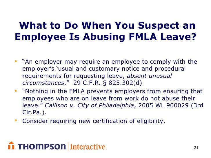 Controlling Intermittent Leave Under The Fmla