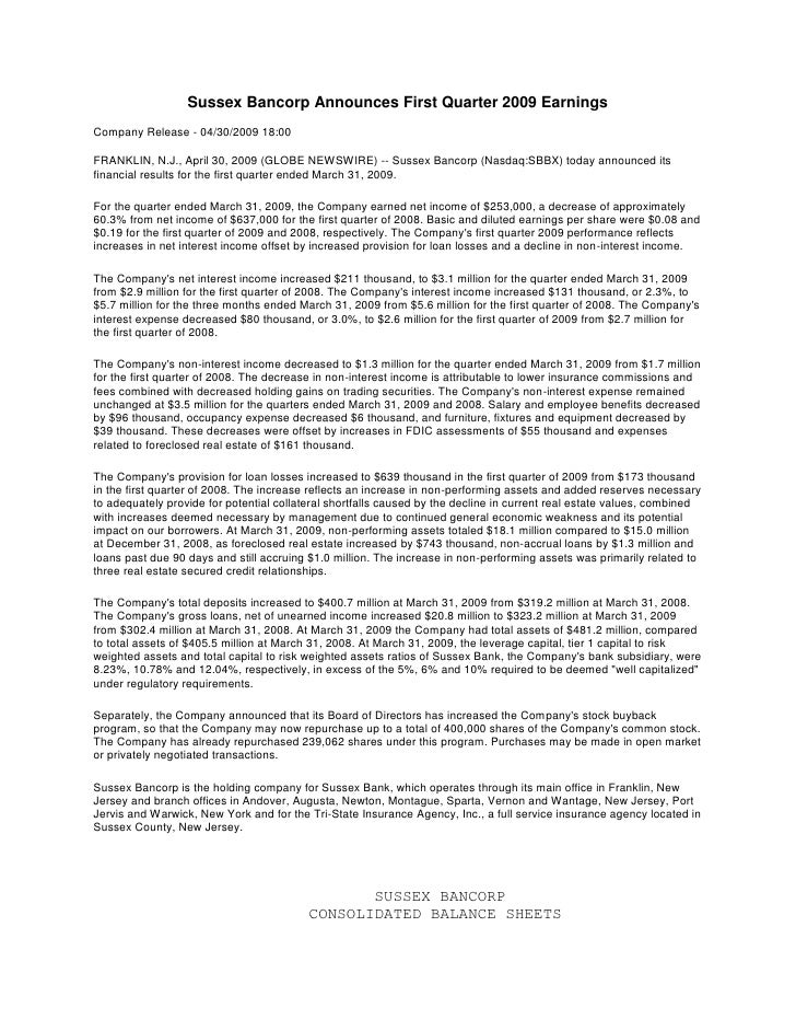 Sussex Bancorp Announces First Quarter 2009 Earnings Company Release - 04/30/2009 18:00  FRANKLIN, N.J., April 30, 2009 (G...