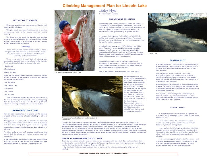 Climbing Management Plan for Lincoln Lake                                                                                 ...