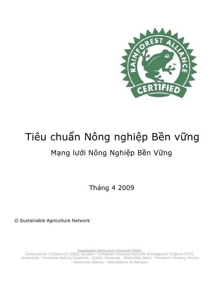 Tiêu chuẩn Nông nghiệp Bền vững                     Mạng lưới Nông Nghiệp Bền Vững                                        ...