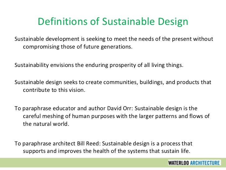 Sustainable design part one building an environmental ethic for Design hotel definition