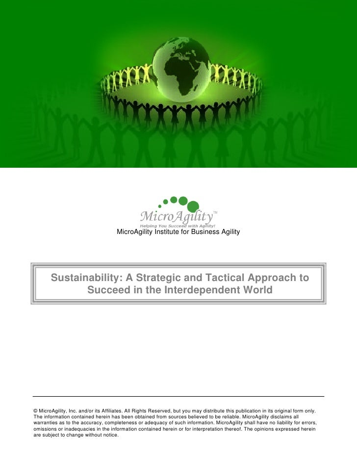 MicroAgility Institute for Business Agility             Sustainability: A Strategic and Tactical Approach to              ...