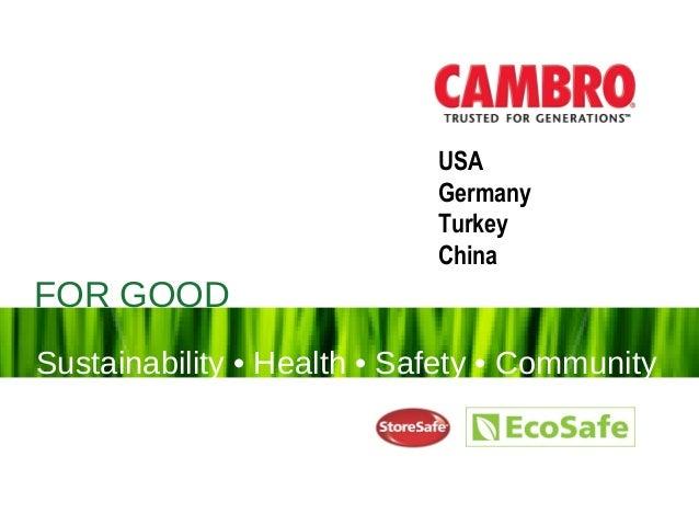 FOR GOODSustainability • Health • Safety FOR GOOD Sustainability • Health • Safety • Community USA Germany Turkey China