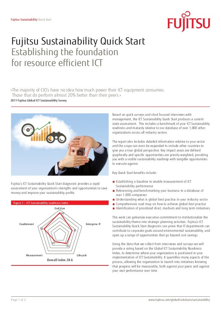 Fujitsu Sustainability Quick StartFujitsu Sustainability Quick StartEstablishing the foundationfor resource efficient ICT»...